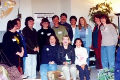 Bastards and CalOpen, January 2002, State House ,Sacramento' Far left: Marley Greiner; , 6th from left Chaz Fillius; 2nd from right Nina Greeley who testified in favor of bill